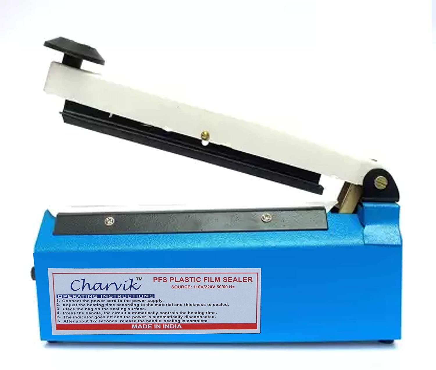 Charvik Sealing Machine for Use Plastic Polythene Bag Seal, 8 Inch, Multicolour