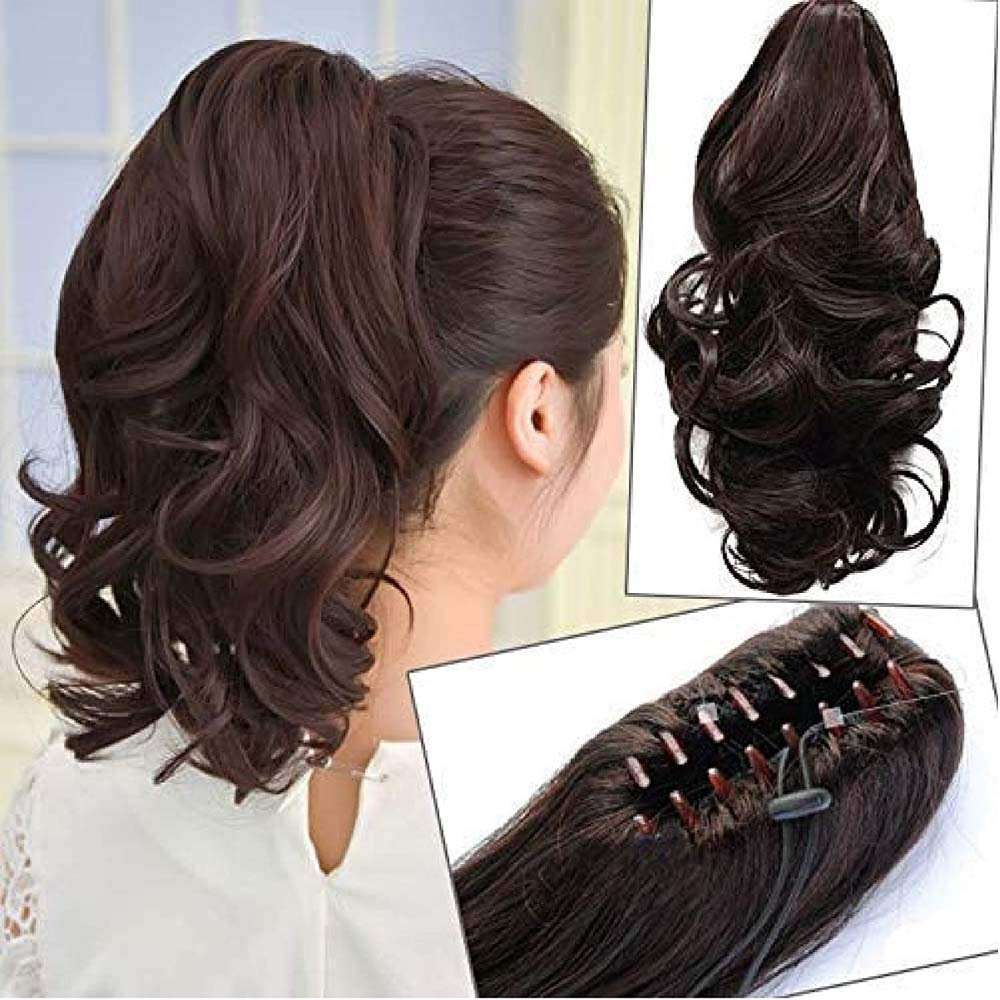 Charvik Hair Extensions And Wigs Synthetic Straight-Curls Ponytail with Clip Hair Extension Wig for Women