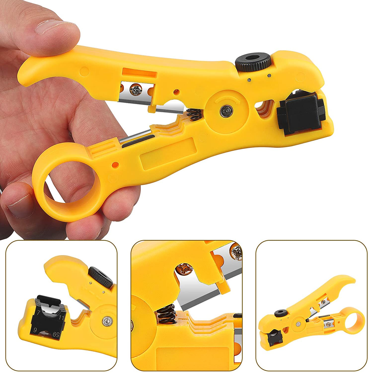 Ekavir Universal Wire Cable Cutter Stripper Tool for Coax Cable RG59 RG6 RG7/RG11 Round Network Cable CAT5 CAT6 and Flat Telephone Cable Yellow