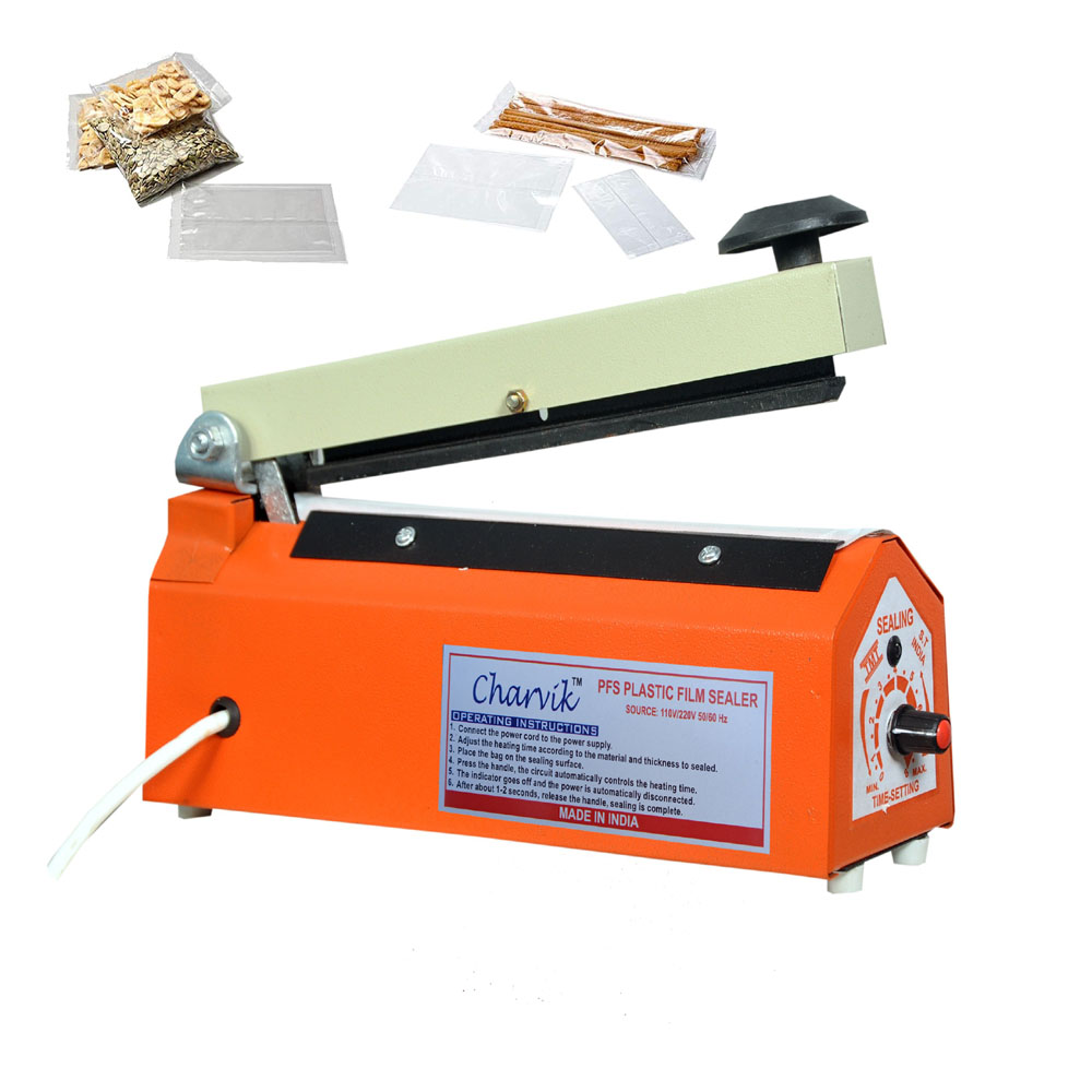 Charvik 8 inch Sealing Machine PFS Impulse Bag Sealer Poly Bag Heat Seal Closer with Replacement Heating Element