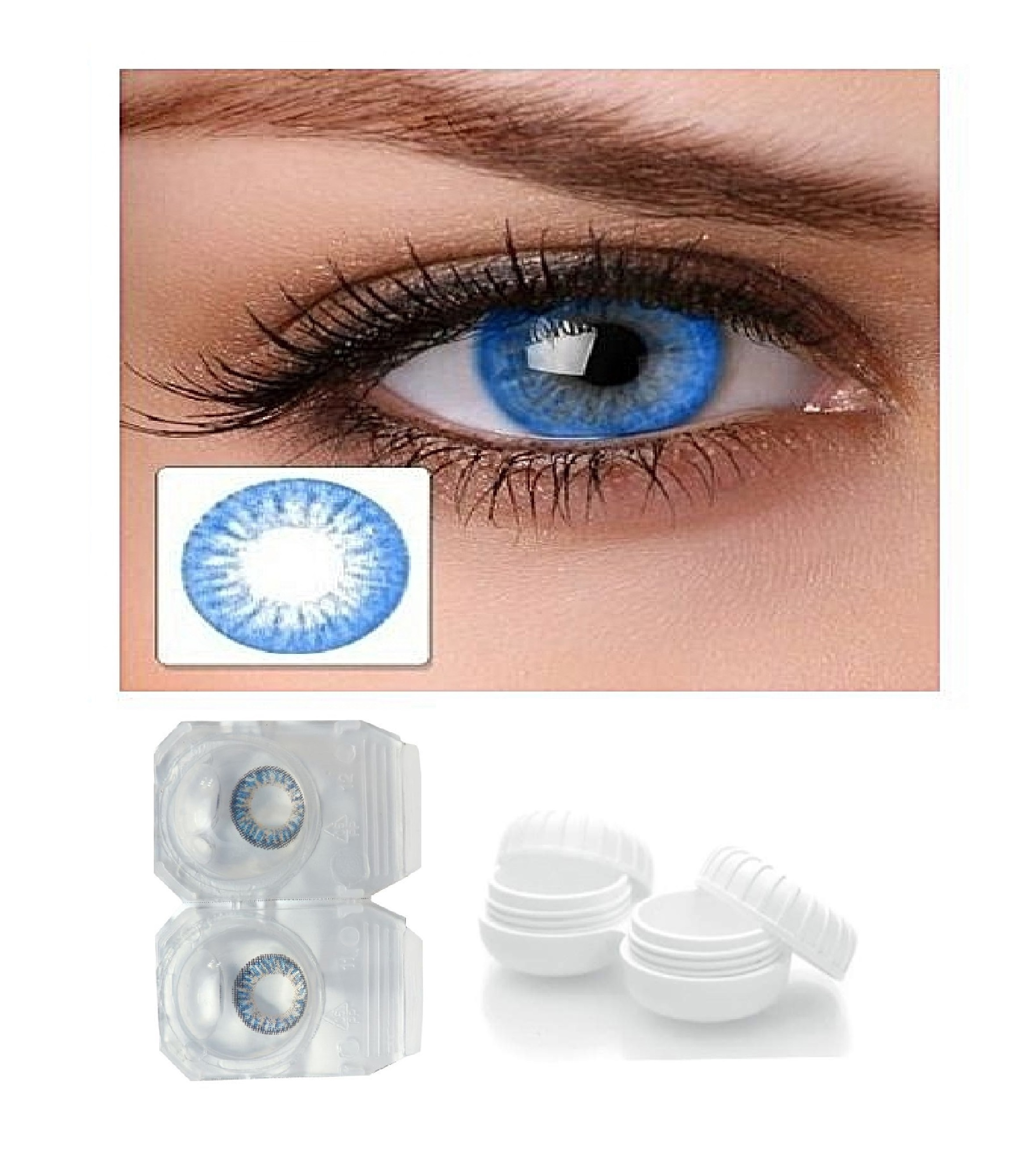 Coloured Contact Lenses Without Power, Weekly ( Sky Blue )