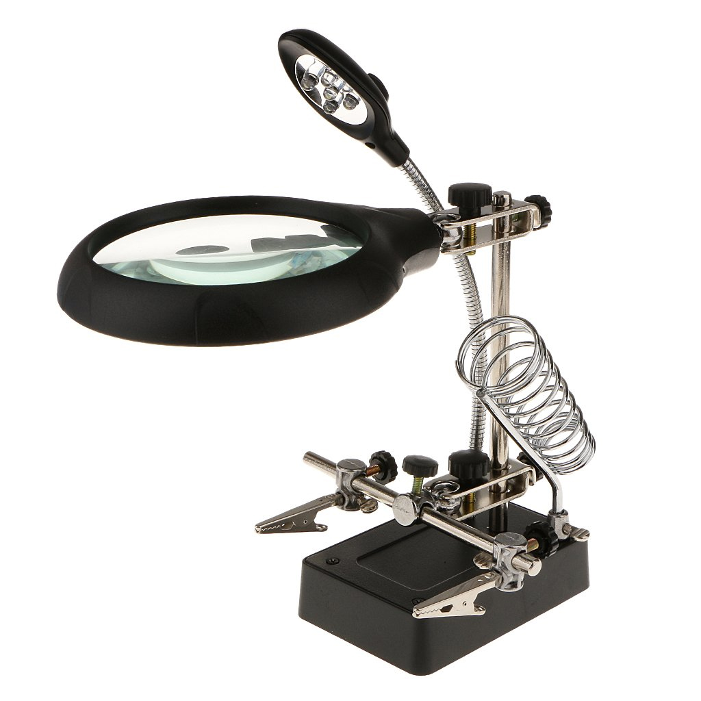 Ekavir LED Light Soldering Helping Hands Magnifier Station with Clamp and Clips