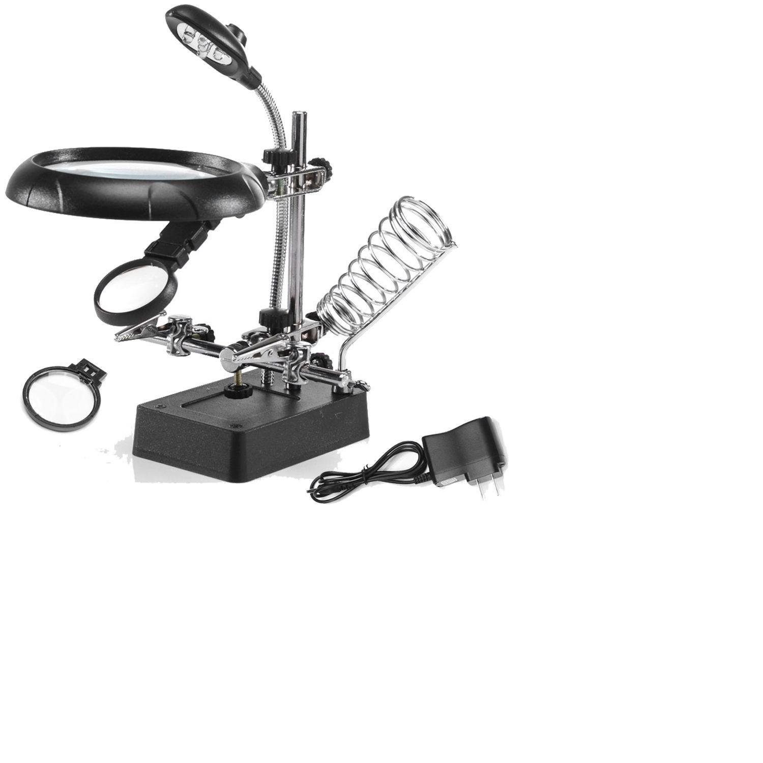 Helping Hand  LED Light Soldering Station Magnifier Station with Clamp and Clips Helping Hands