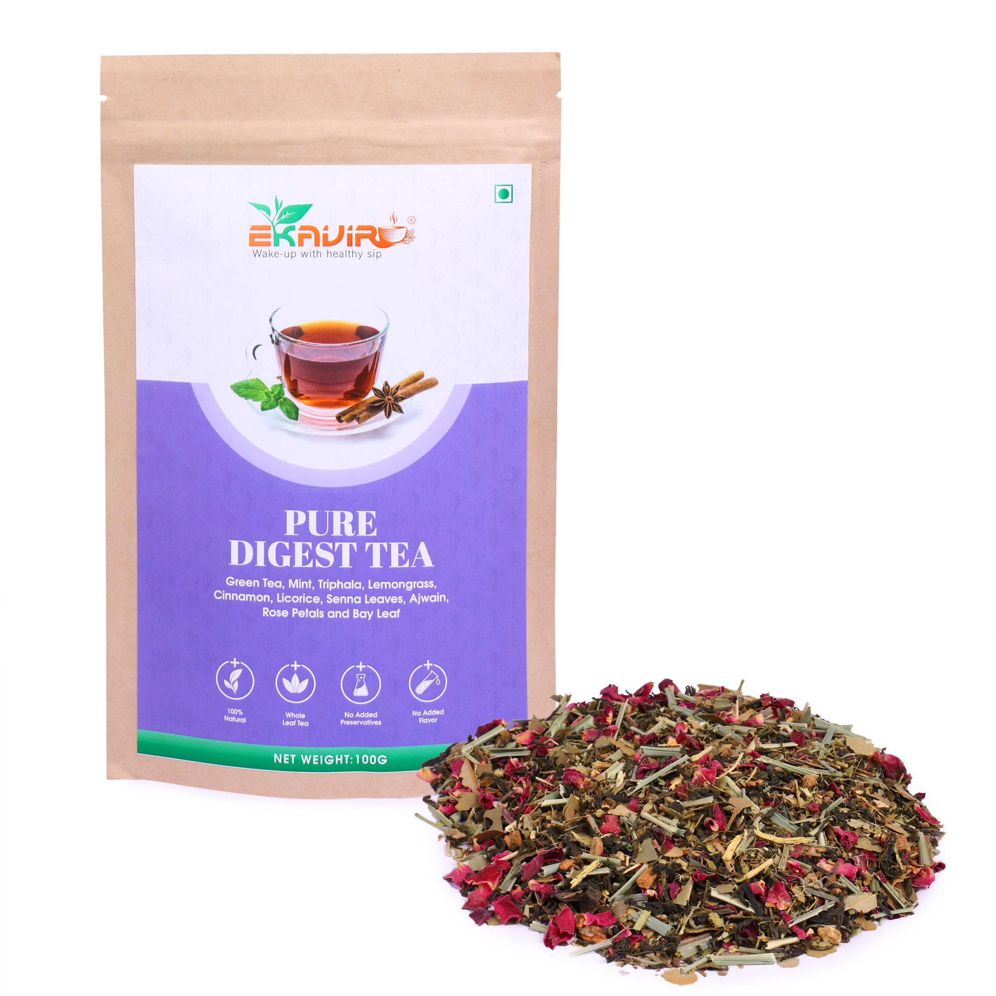 Ekavir Pure Digest Herbal Green Tea With Triphala, Mint, Rose Petals helps for Weight Loss Feel Relax and Refresh