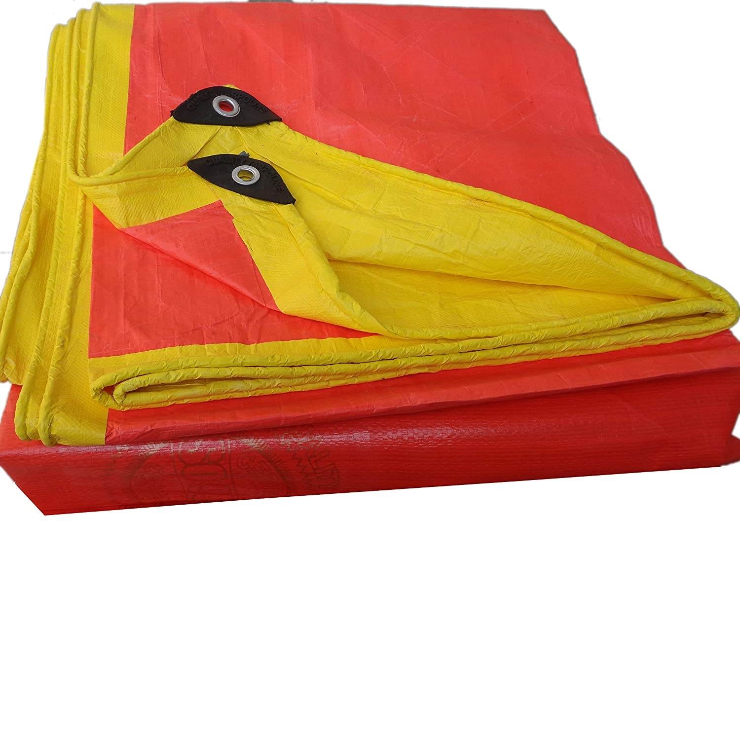 KARSYN Tarpaulin Waterproof Plastic Trap - Red/Yellow Tripal - for All Weather Camping Tent - 12X8 Ft.