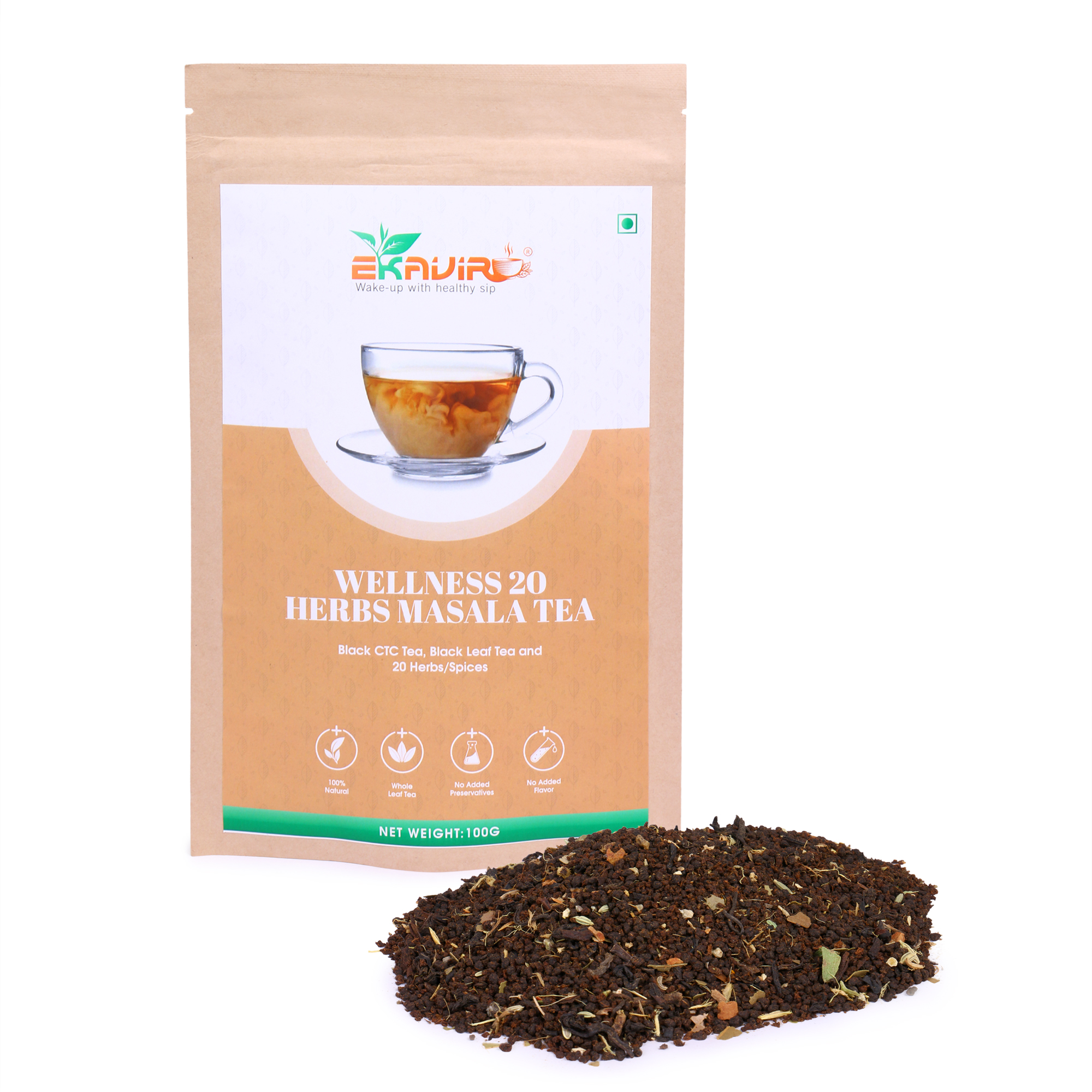 Natural Herbs Masala Green Tea with Ginger, Black Pepper, Ashwagandha Boosts Immunity and Energy Levels.