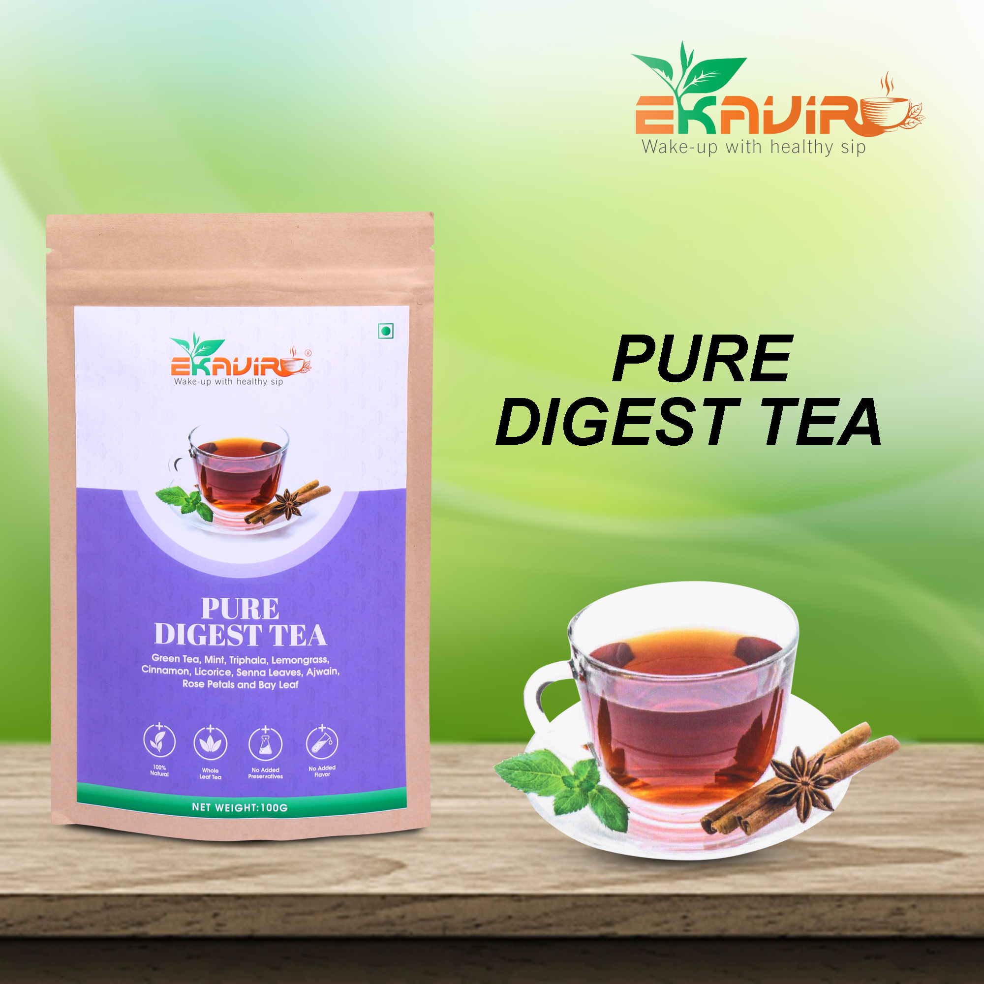 Digest Pure Herbal Green Tea With Triphala, Mint, Rose Petals helps for Weight Loss Feel Relax and Refresh.