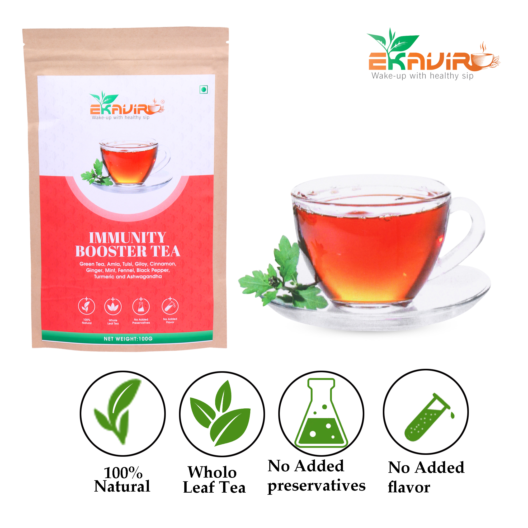 Immunity Booster Green Tea with Ginger, Mint, Fennel, Black Pepper, Turmeric, Ashwagandha and  Aamla, Tulsi, Giloy, Cinnamon, Green tea For Adults and Teenager.