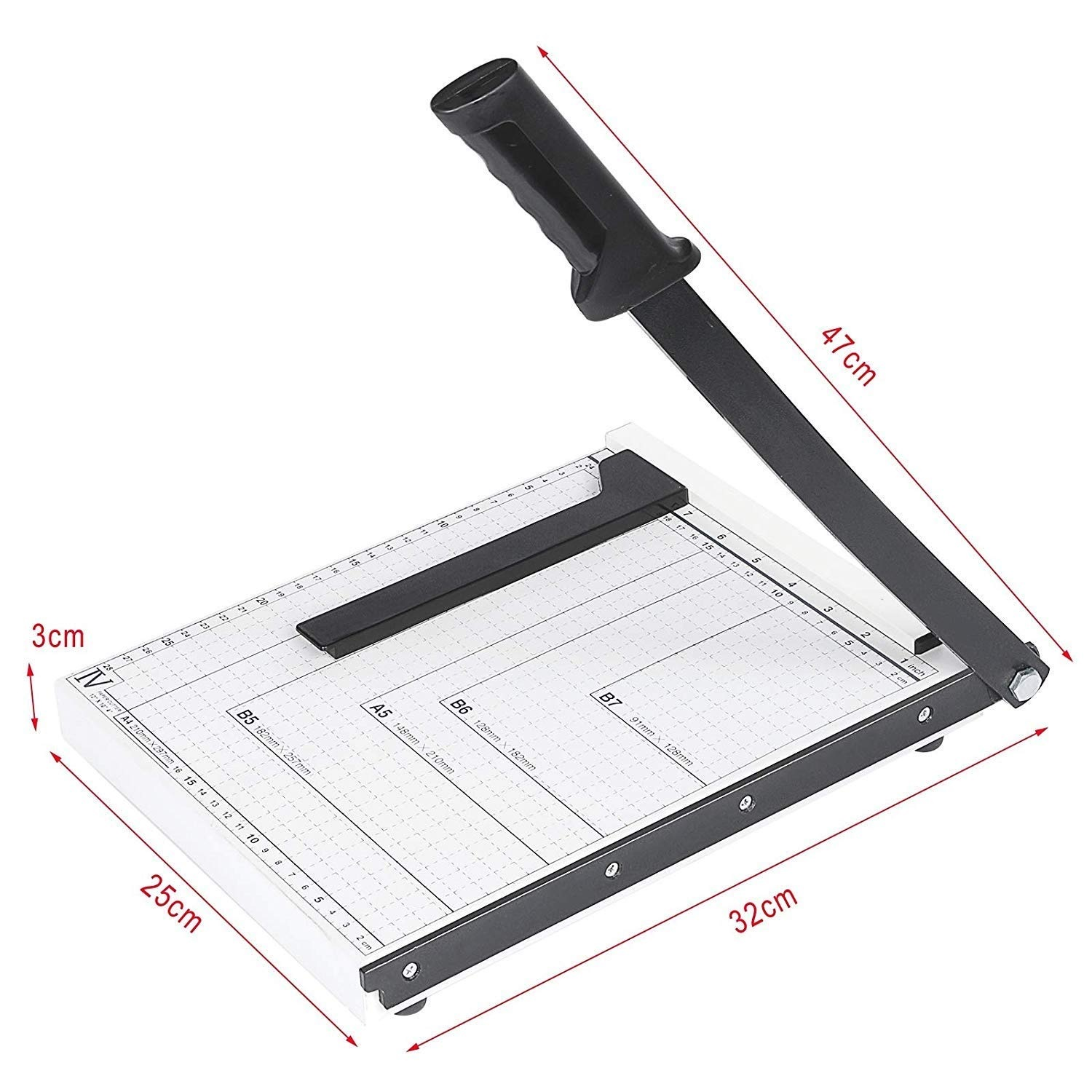 Ekavir Solid  Paper Cutter 12 Inch Support  Trimmer Cutters Metal Base A4/B5/B6/B7/A5 Post Card and Photo (L) Size Paper Cutting